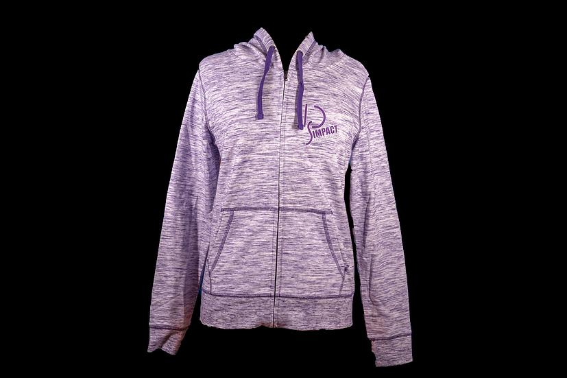 Impact Dance Studio Woman's Space Dye Full Zip Hood
