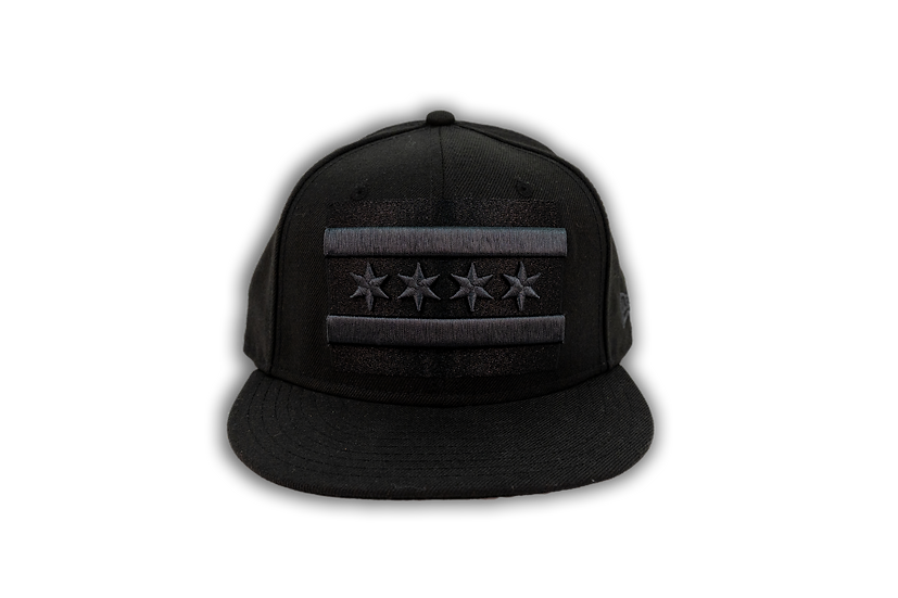 Chicago Flag New Era Black Tonal 59Fifty Fitted Cap