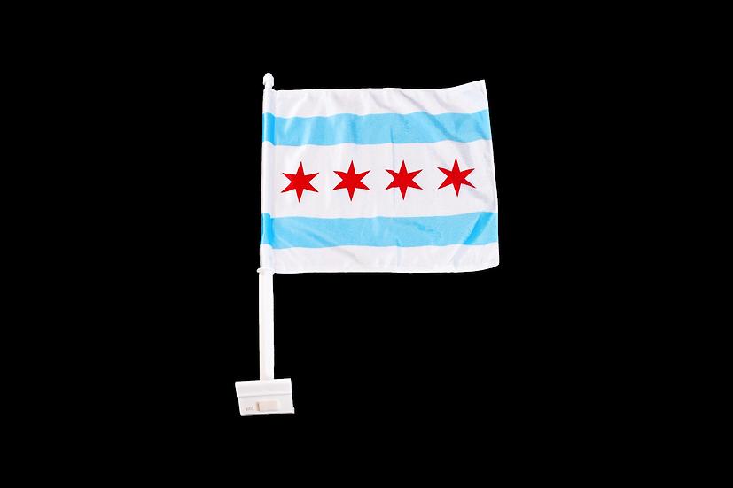 Chicago Flag Duel Sided Car Flag