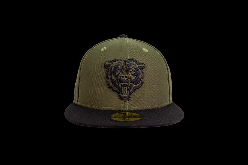 Chicago Bears New Era Rifle Green Bear Head w/USA Flag Sidepatch 59Fifty