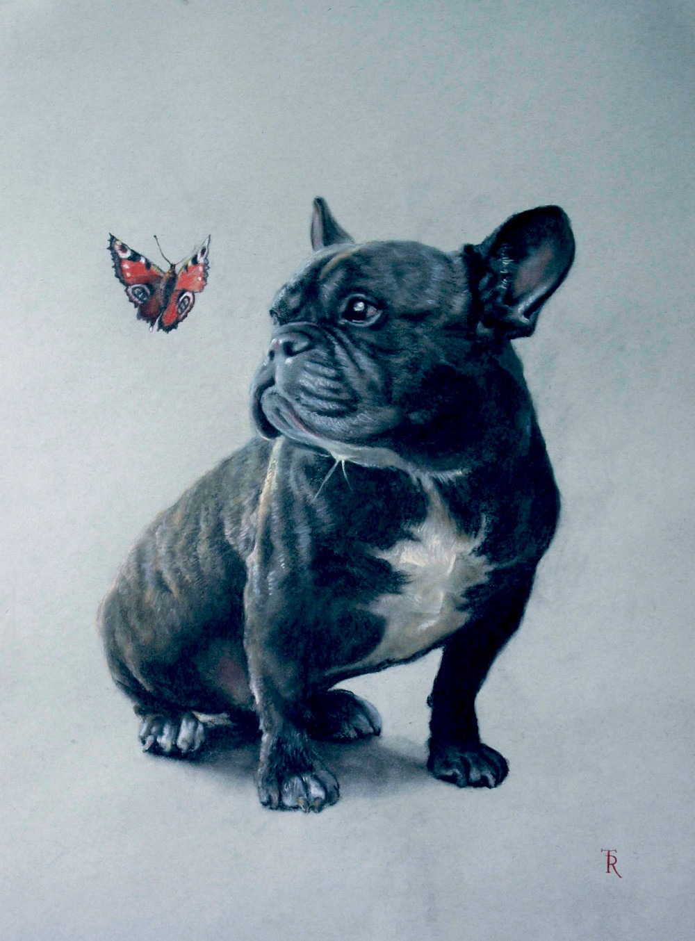 Arnold and the butterfly, Oil on Canvas. Beautiful portrait of a funny bulldog