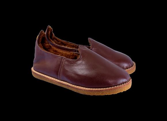 Burgundy Leather Sheepwool Baba