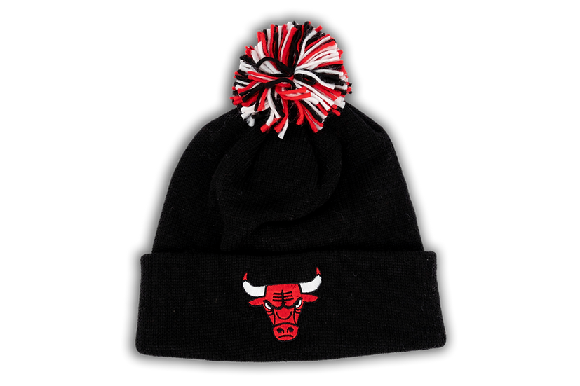 Chicago Bulls Adidas Multi-Colored Pom Basic Primary Logo Cuffed Knit
