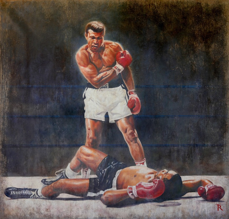 K.O. is a tribute to Muhammad Ali painting by artist Tomasz Rut