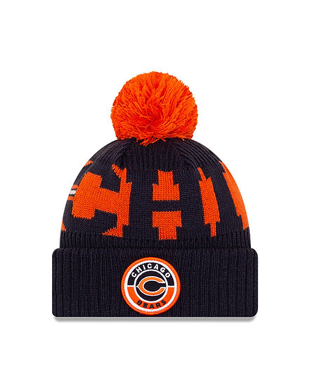 Bears New Era 2020 NFL Sideline Official Sport Pom Cuffed Knit Hat