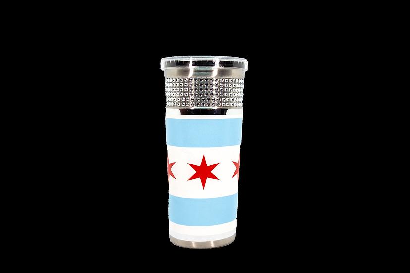 Chicago Flag 16oz Wrapped Travel Tumbler w/Straw