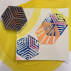 handprint, tessellation hexagon, color overlay, art on paper, affordable art israel,lino cut