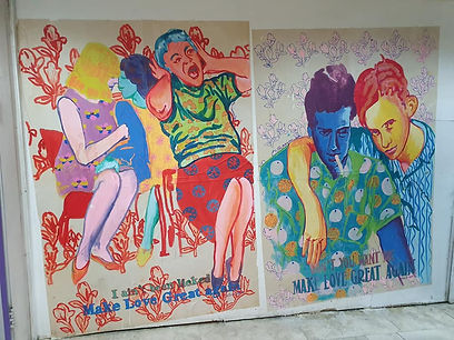 make love great again, tahanat mercazit, tel aviv bus station, Street art tlv, queer art tlv, color pattern people, saatchi artist