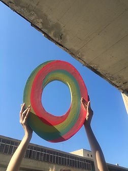 alba, colorful sculpture using dawn colors spectrum and contrast with daylight contrast