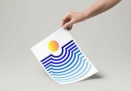 sunset poster, gradient art, abstract geometry, tel aviv sunset, orange sun, climate change is real