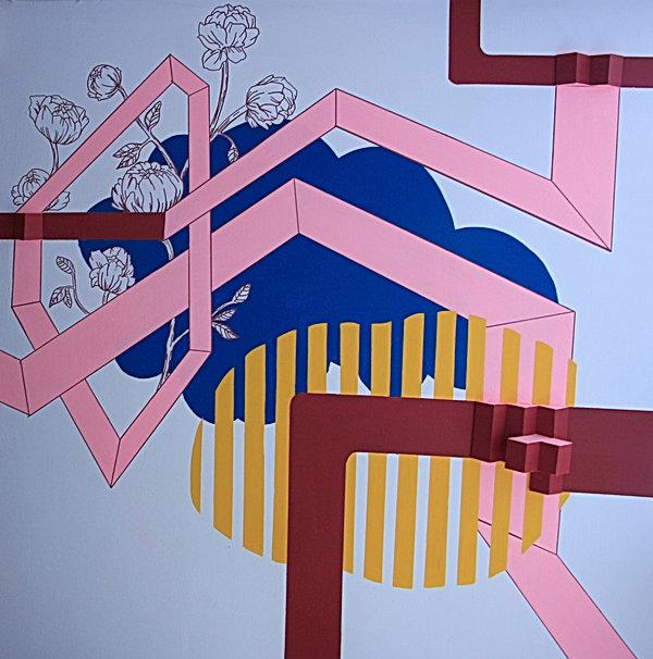 installation, mural, mural painting, tel aviv, israel, jessica moritz, sculpture, pattern, lineart