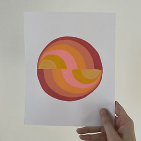 sunset palindrome, color halation, dégradé acrylic, colorful art for your home, simple and pure art