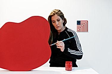 jessica moritz, israeli artist in her studio in kiryat hamelacha, tel aviv. hard edge painter making art during lockdown.