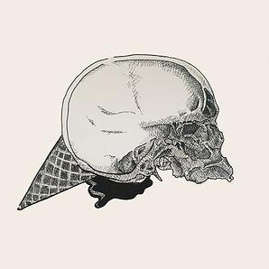 dark art illustration, frozen brain, micron pen drawing, skull illustration, mental issue awarenss, pop surrealist art, reddit art