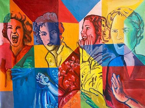the other women by jessica Moritz, colorfield artst, painterly, geometric abstraction, portrait with bold colors, israeli artist, tel aviv art studio, women in the arts, diversity in the art field.
