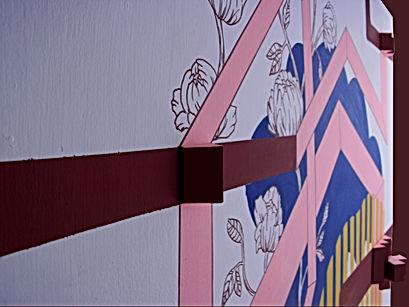 geometric mural, geometric abstraction painting, img, mural art interior tel aviv, interior design tlv
