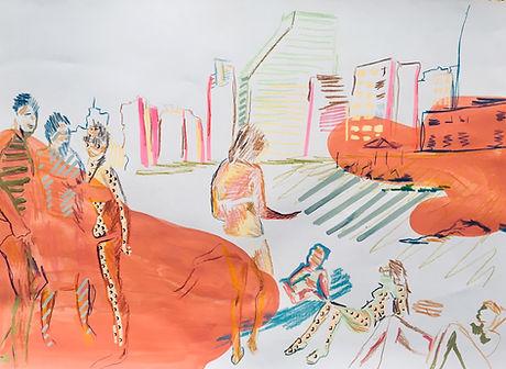 illustration tlv, drawing tel aviv, hilton beach israel, israel beaches, israel artist