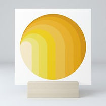 yellow moon sunshine, moon artprint, geometric art print, hard edge art print, collect israeli art, op art prints, home decor back to school