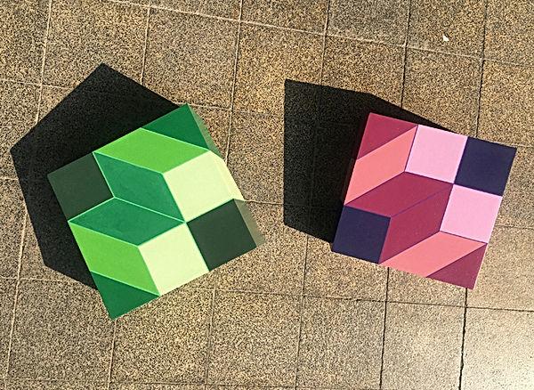 jessica moritz, installation, color theory, escher, geometric art, israeli art, installtion art, white cube, color scheme, ux art, square, 3D pattern, Tlv art, tel aviv artist, israeli art for sale
