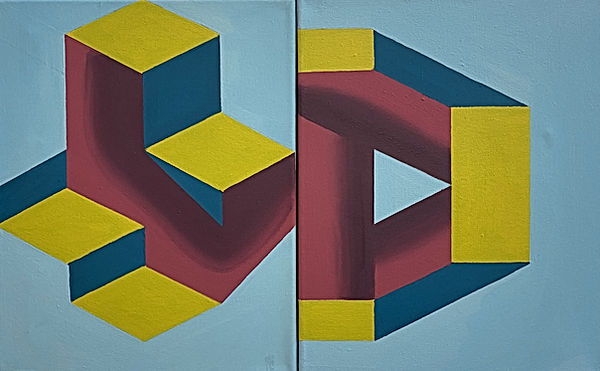 dyptic art, geometric art for sale, israeli art 2020, hard edge abstraction, neo geo, colorful painting home interior, art for sale by the artist, israel