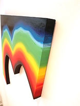 sea spectrum, colorfield art, shaped canvas, floating canvas art, jessica moritz, climate change art, tel aviv art, sea temperatures, science and art