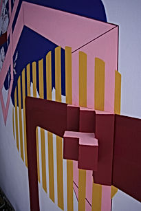 wall sculpture, contemporary art installation, geometric mural, escher art, color theory art, israel home design