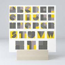 yellow illumanting and grey, pantone 2021 inspired, alphbaet minimal, abc poster, back to school kids idea, abc typography