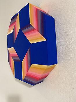 moritz painting, hard edge painting, colorfield sculpture, gradient art, werner panton inspired, colorful home art, maximalism art