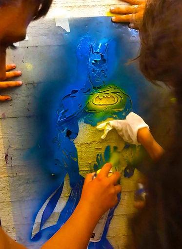 batman stencil, graffiti workshop tel aviv, kids street art, comics stencil, handcut stencil,batman is better, fun with kids, art and kids