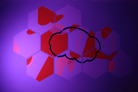 rgb led art, led art israel, installation interactive, geometric abstraction, color interactivity, particules