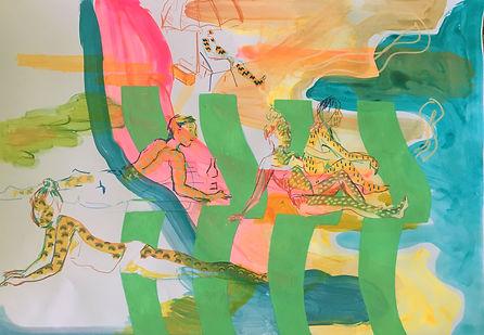 surface pattern illustrator, tel aviv vibes,img, summer drawings, people on the beach, commission artist