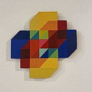 hypercube, geometric painting, saatchi artist, color halation, color prism, sacred geometry art, israeli art for sale, art made during lockdown