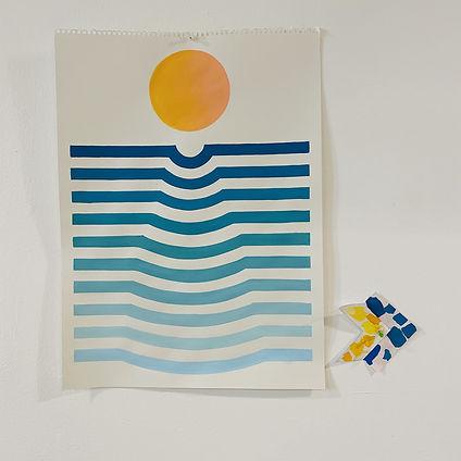 sunset distraction, seascape, abstract geometric art by jessica Moritz, Tel aviv.