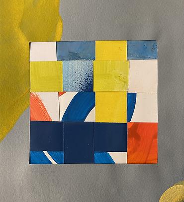 weaving art, colorfield collage, geometric abstraction, art on paper, paper art, collage art, tel aviv artist