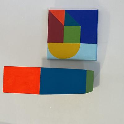 flat lay art, neo geo, color block art, artist process, artist color specialist, tel aviv artist, olah hadasha art