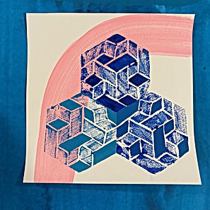 impossible geometry art print, art print for sale, color interactions, israeli art print, art with texture, artist on saatchi,img