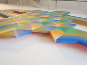 Hope tessellation choreography,img, painting close up, colorfield art, hard edge art, tessellation art, geometric abstraction artist, color inspiration summer 2021