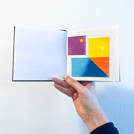 artist sketch book, abstract collage artist, geometric collage, colorfield artist, hard edge art