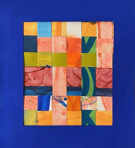 bleu klein,contemporary collage artist, geometric art on paper, weaving paper, israeli artists, passe partout art, cut outs paper