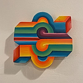 geometric abstract sculpture by Jessica Moritz, mindfully made from reclaimed wood based on color and light interactions and punctuation signs.