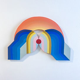 what goes around comes around, wall sculpture with gradients colors and symmetry, geometric art
