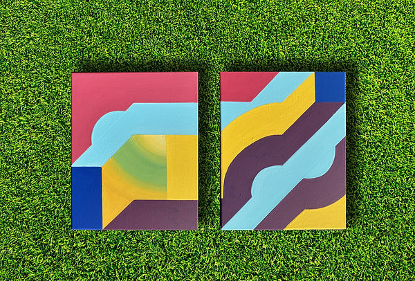 grass is green, geometric abstraction, moritz painting, israeli artist, israeli painting, abstract geometric, color theory artist, colorfield painting