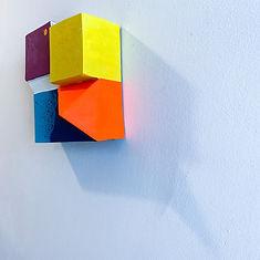 hard edge art,jpeg,color block art, 3D sculpture, wall sculpture, art basel 2021, art fair 2021, fresh Paint 2021, jessica Moritz, assemblage sculpture