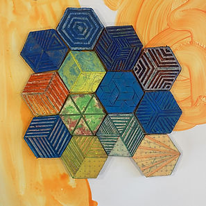 linoprint art, handcarving print, abstract print, hexagonal pattern, sacred geometry art