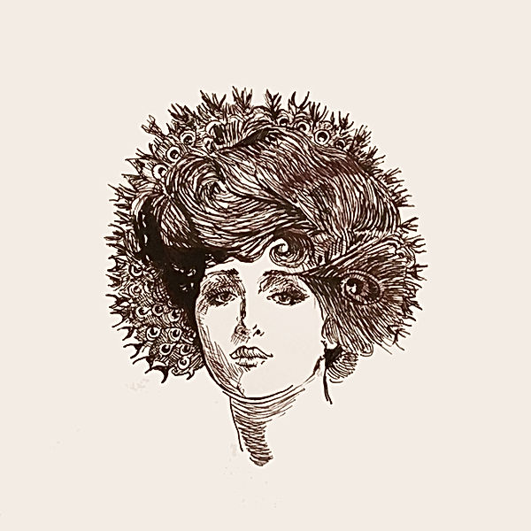 jeszmo_art,portrait illustration, feather art, womenhood awareness, queer illustration, being a woman in 2020, ink drawing woman, illu 2020