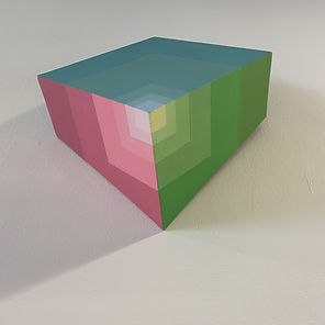 homage to the square, color theoery 2020, golden ratio art, sacred geometry, RGB spectrum, Wall sculpture, collect israeli art