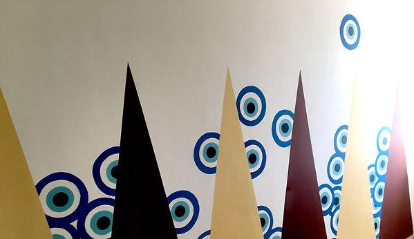sheshbesh, backgammon,mural painting, mural art tlv, israel painting, jessica moritz,tel aviv art, israeli artist, israeli culture,abstract geometry