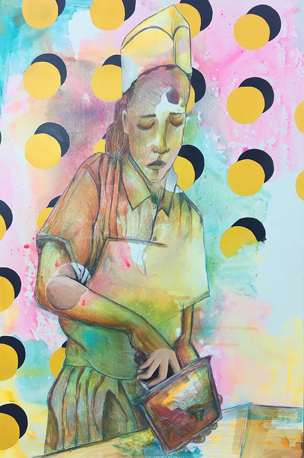 jessica moritz, morgenstein ice cream new york, pattern painting, circle art painting, realist artist, portrait artist israel,img