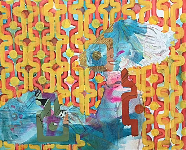 working girl, olivetti girl, influence of ad on people, img,panton, color pattern, painting for sale, art to collect israel