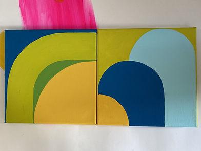 colorfield artist, israeli artist,img, israeli painter, square homage, colorful art design, green is not easy